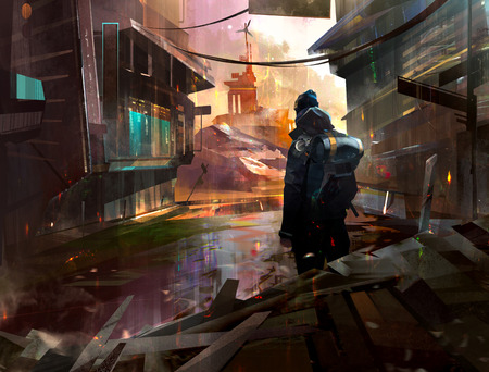 painted traveler in an abandoned city in the style of post-apocalypse