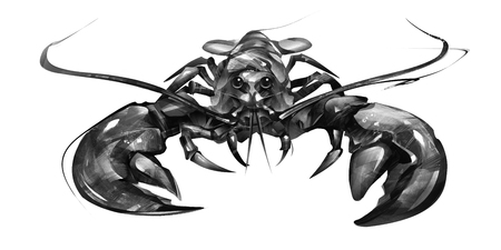 painted lobster on white background in front