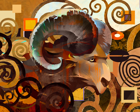 painted abstract ram on a bright background