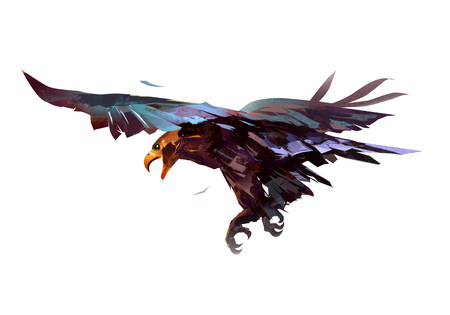 painted colored flying eagle bird back view