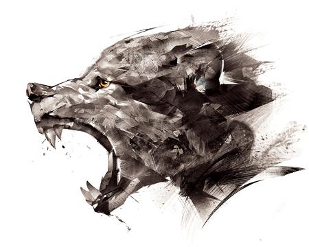 croquis loup loup sur le côté sur un fond blanc
