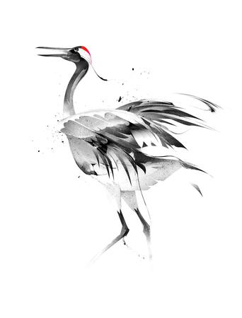 painted stylized bird crane on white background
