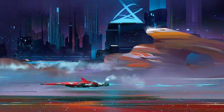 art nightly fantastic urban cyberpunk landscape with mountains