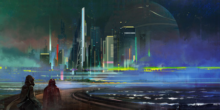 painted a fantastic night city of megapolis in the style of cyberpunk Фото со стока