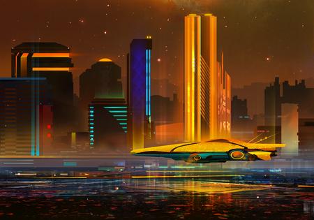 painted a fantastic urban night landscape of the future Фото со стока