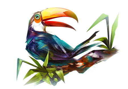 painted bird toucan on a branch on a white background Фото со стока