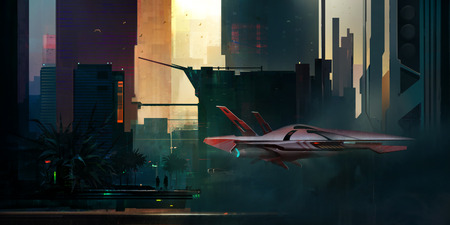fantastic painted morning cyberpunk style landscape with skyscrapers