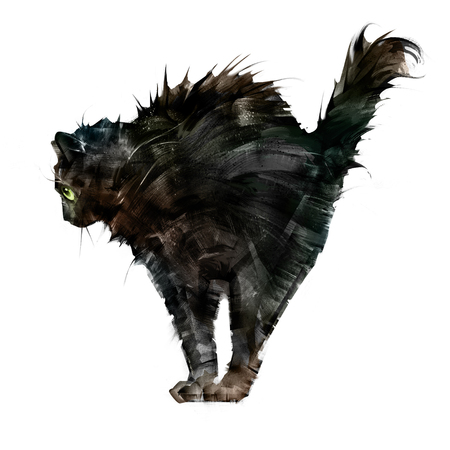 sketch ruffled scary black cat side view on white background