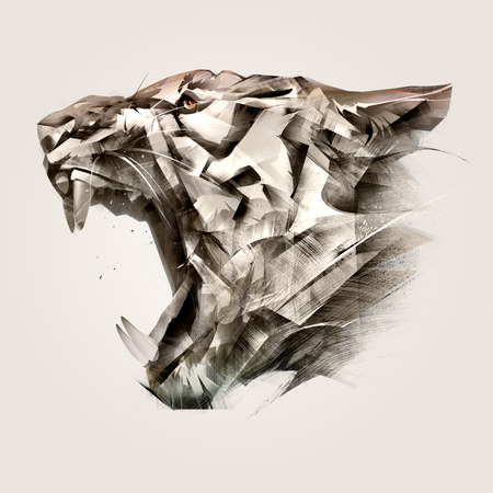 painted portrait of animal tiger muzzle side
