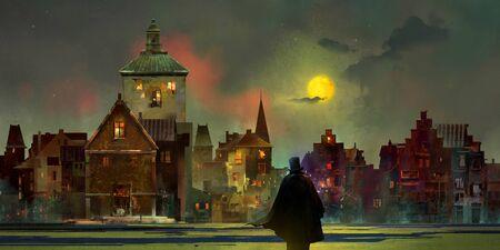 drawn vintage urban lunar landscape at night with a man in a top hat Standard-Bild - 125871394