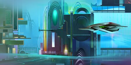 painted colorful fantastic cyberpunk landscape with a spaceship