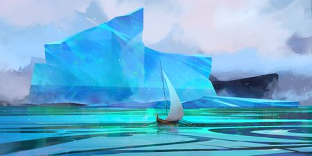 painted winter seascape with iceberg and sail