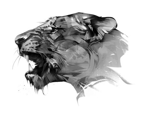 drawn portrait of an animal lion on a white background