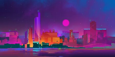 painted bright colored city of the future at night