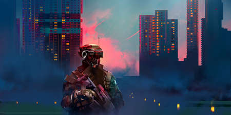 painted vivid city military landscape with future soldier at sunrise
