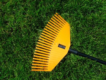 Garden rake detail on green grass background Stock Photo