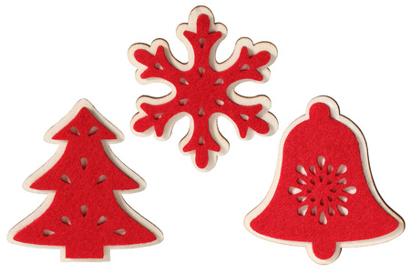 Set of Christmas decorations isolated on white background