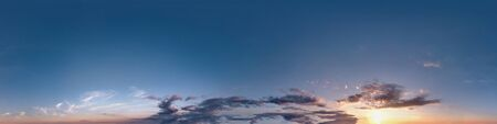 Seamless dark sunset sky hdri panorama 360 degrees angle view with beautiful clouds  with zenith for use in 3d graphics as sky dome or edit drone shot