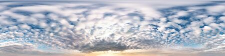 blue sky with beautiful awesome clouds. Seamless hdri panorama 360 degrees angle view with zenith for use in 3d graphics or game development as sky dome or edit drone shot Banco de Imagens