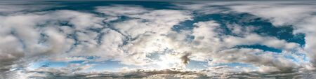 blue sky with beautiful cumulus clouds. Seamless hdri panorama 360 degrees angle view with zenith for use in 3d graphics or game development as sky dome or edit drone shot