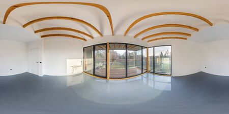full seamless hdri panorama 360 angle in white empty apartment interior with panoramic windows and wooden rafter ceiling in vacation homestead house in equirectangular spherical projection.VR content
