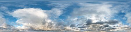 blue sky with beautiful evening cumulus clouds. Seamless hdri panorama 360 degrees angle view with zenith for use in graphics or game development as sky dome or edit drone shot