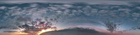 dark blue sky before sunset with beautiful awesome clouds. Seamless hdri panorama 360 degrees angle view with zenith for use in graphics or game development as sky dome or edit drone shot Banco de Imagens