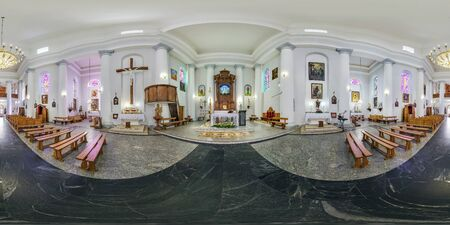 SCHUCHIN, BEALRUS - MAY 2019: Full spherical seamless hdri panorama 360 degrees angle inside interior of old gothic catholic church in equirectangular projection, VR AR content Editorial