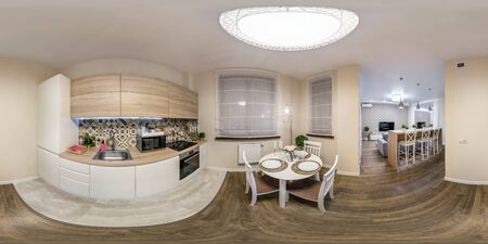 MINSK, BELARUS - DECEMBER 2018: full seamless spherical hdri panorama 360 degrees angle view in interior of kitchen in modern flat apartments in equirectangular projection, VR content Editorial