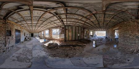 abandoned empty concrete room or unfinished building. full seamless spherical hdri panorama 360 degrees angle view in equirectangular projection, ready AR VR virtual reality content