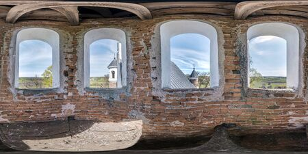 full seamless spherical hdri panorama 360 degrees angle view inside the bell tower of old orthodox defense church  in equirectangular projection with zenith and nadir. VR  AR content