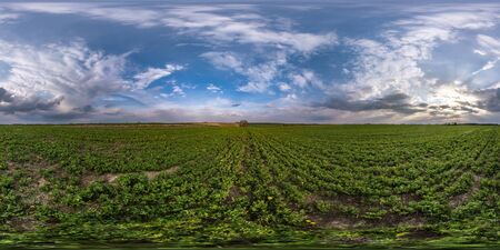 full seamless spherical hdri panorama 360 degrees angle view on among fields in spring evening with awesome clouds in equirectangular projection, ready for VR AR virtual reality content