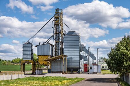 agro-processing and manufacturing plant for processing and silver silos for drying cleaning and storage of agricultural products, flour, cereals and grain. Granary elevator.