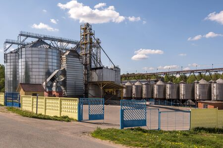 Granary elevator on agro-processing and manufacturing plant for processing and silver silos for drying cleaning and storage of agricultural products, flour, cereals and grain.