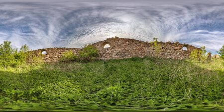 full seamless hdri panorama 360 degrees angle view near walls of abandoned ruined stone farm building in equirectangular projection. VR AR content
