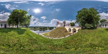 full seamless spherical hdri panorama 360 promenade overlooking the old city and historic buildings of medieval castle near wide river on mountain in equirectangular projection, VR AR content