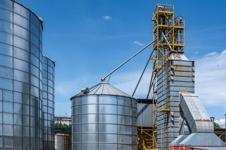 silver silos on agro-processing and manufacturing plant for processing drying cleaning and storage of agricultural products, flour, cereals and grain. Granary elevator.  版權商用圖片