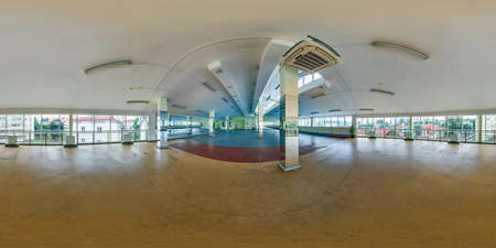 Empty room with panoramic windows, columns and mirror. full seamless spherical hdri panorama 360 degrees in interior large room for office or sport complex in equirectangular projection. VR content