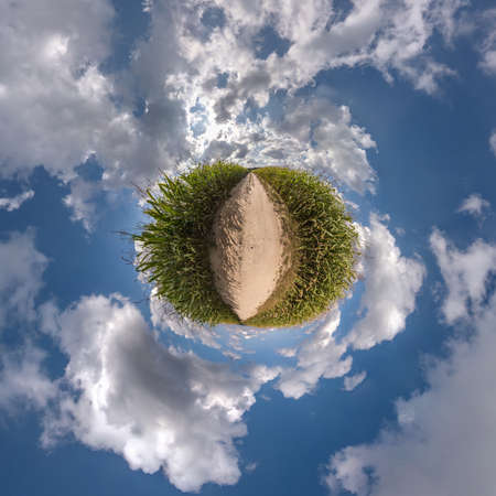 tiny planet transformation of spherical panorama 360 degrees. Spherical abstract aerial view in field with clear sky and awesome beautiful clouds. Curvature of space. 免版税图像 - 156754353