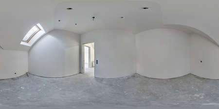 empty white room with mansard without repair and furniture. full spherical hdri panorama 360 degrees in interior room in modern apartments in equirectangular projection
