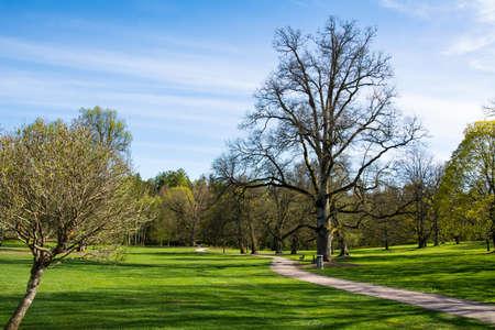 View of Traskanda Manor (Aurora Park) in spring, Espoo, Finland Stock Photo