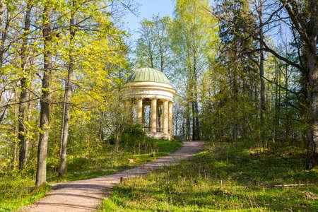 View of Diana Temple and Traskanda manor park (Aurora Park) in spring, Espoo, Finland