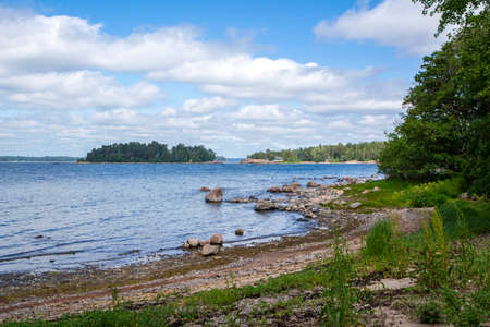 View of the rocky shore of Gasgrund island and Gulf of Finland, Suvisaaristo area, Espoo, Finland Stock Photo