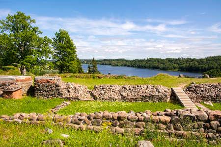 View of the ruins of The Viljandi Castle, Estonia Stock Photo