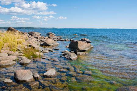 View of the shore of Varlaxudden (Vaarlahti) recreation area, Emasalo island, Porvoo, Finland