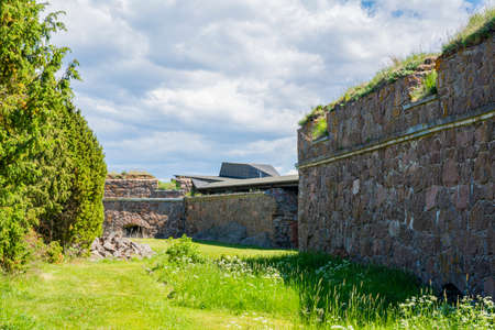 View of The wall of The Svartholm fortress, Loviisa, Finland