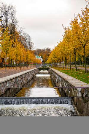 Autumn view of water canal in Kadriorg park, Tallinn, Estonia Stock fotó - 155450079