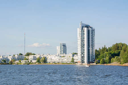 View of the Kivenlahti and Gulf of Finland in summer, Espoo, Finland