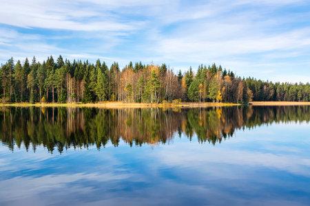 Autumn view of Liesjarvi National Park and The Lake Kyynara, Tammela, Finland Stock Photo