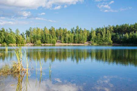 View of the lake in Storsvik, Siuntio, Finland Standard-Bild